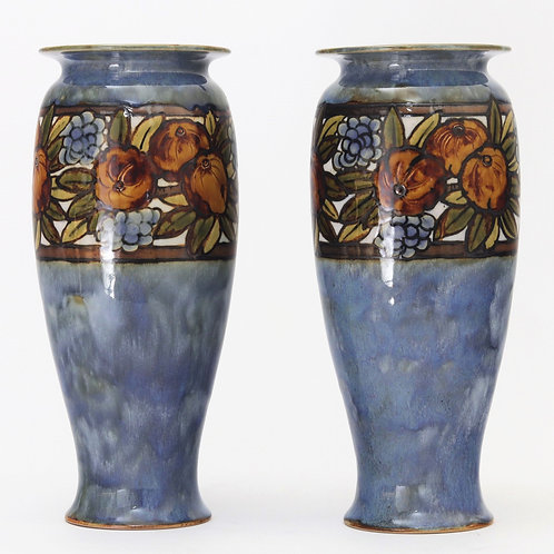 Royal Doulton Pair of Vases by Florence C Roberts c1925