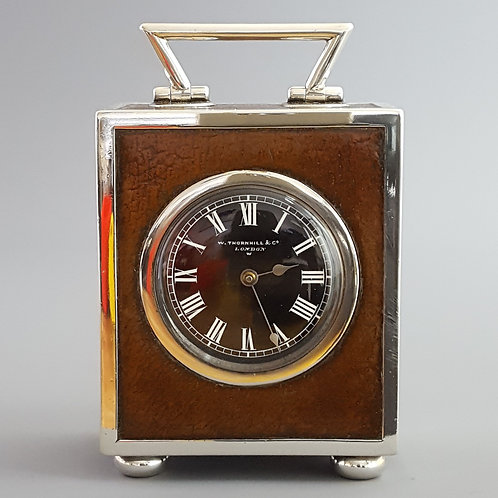 Quality Silver and Leather Covered Desk Clock Thornhill & Co London 1884