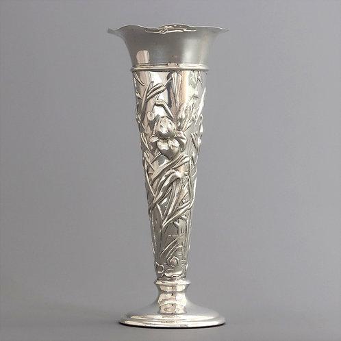 Art Nouveau Silver Repousse Bud Vase by William Comyns