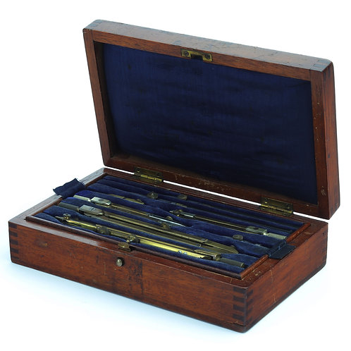 Early 20th Century War Office 2 Tier Technical Drawing Instruments by J.J.T & S