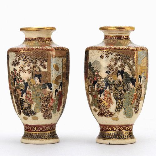 Pair of Meiji Period Satsuma Vases Signed Hododa c1890