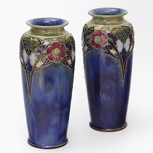 Pair of Royal Doulton Stoneware Vases by V Hayward c1925
