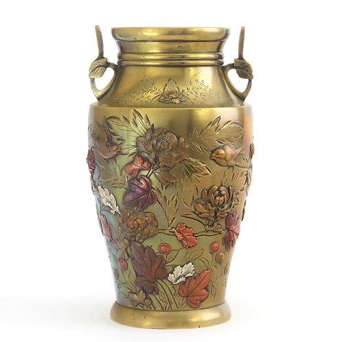 Meiji Period Bronze and Mixed Metal Vase c1885