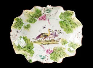 Example of Derby soft-paste porcelain dish c1755. [© Victoria and Albert Museum, London]