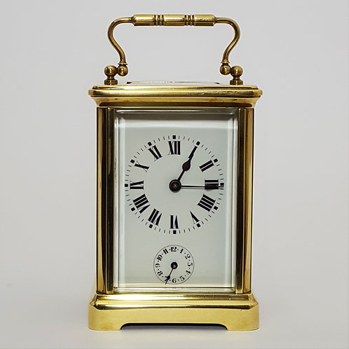 French Brass Corniche Cased Carriage Clock with Alarm c1895