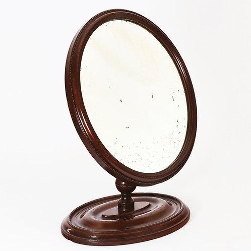 Antique Gentleman's Adjustable Mahogany Oval Mirror