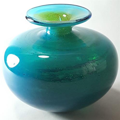 Vintage Mdina Glass Blue And Amber Vase