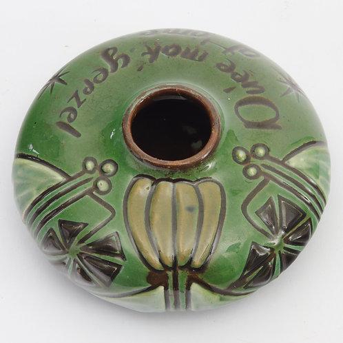 Antique Brannam Barum Pottery Scraffito Inscribed Ink Pot 1903