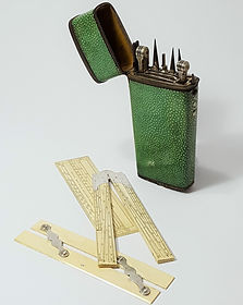 A shagreen cased set of early 19th century George IV drawing instruments c1835