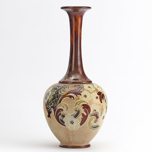 Tall Doulton Lambeth Slaters Vase by Eleanor Tosen c1895