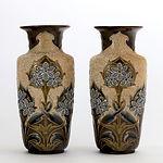 Pair of Doulton Lambeth Art Nouveau vases by Eliza Simmance c1895