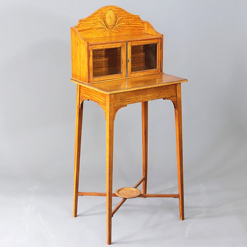 Edwardian Small Satinwood Display Cabinet on Stand