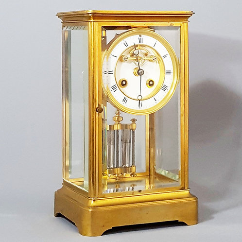 Gilt Brass Four Glass Clock with Exposed Brocot Escapement S.Marti & Cie c1880