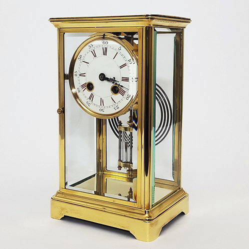 Brass Four Glass Striking French Mantle Clock 1880