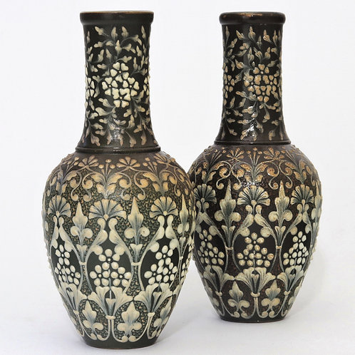 Pair of Doulton Lambeth Pate-Sur-Pate Vases by Eliza Simmance 1881