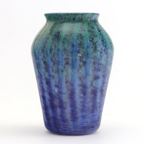 Monart Art Deco Blue and Turquoise Striped Glass Vase