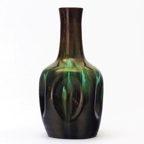 Christopher Dresser for Linthorpe Pottery Streaked Dimpled Vase c1880