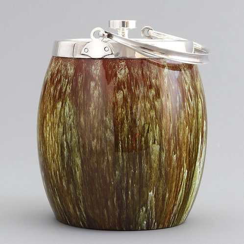 Linthorpe Pottery Drip-Glazed Biscuit Barrel c1885