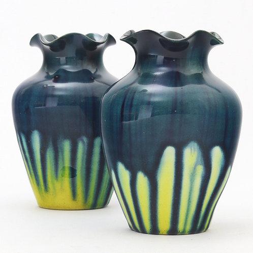 Pair Linthorpe Pottery Blue & Yellow Drip Glaze Vases c1885