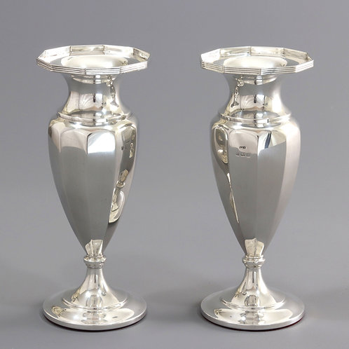 Pair of Art Deco Sterling Silver Faceted Vases