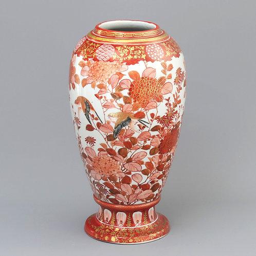 Meiji Period Japanese Akae Kutani Signed Baluster Vase