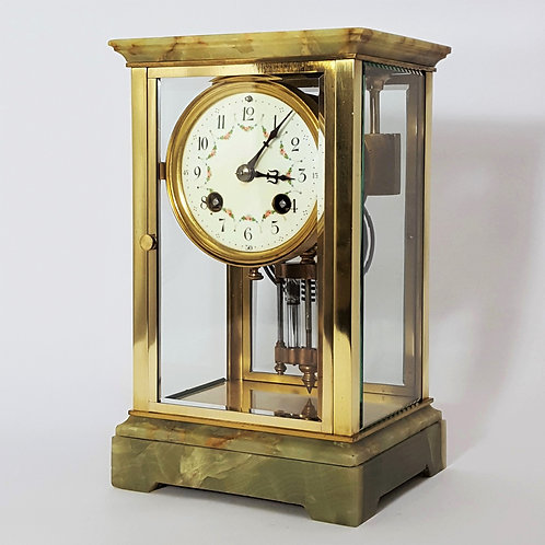 French Onyx and Gilt Brass Four Glass Clock