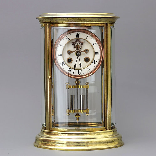 French Oval Four Glass Striking Mantle Clock by S. Marti c1875
