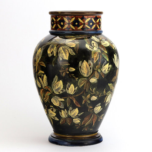 Large Doulton Faience Vase with White Paperflower Dated 1877