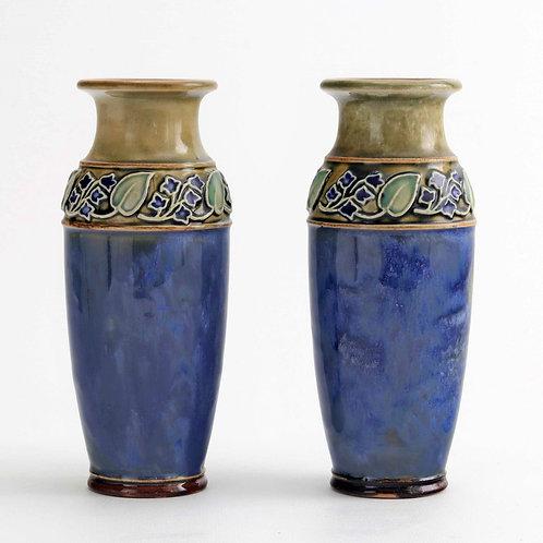 Pair of Royal Doulton Art Nouveau Stoneware Vases c1925