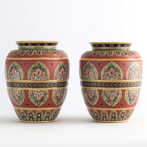 Pair of Mettlach Stoneware Relief Decorated Vases 1916