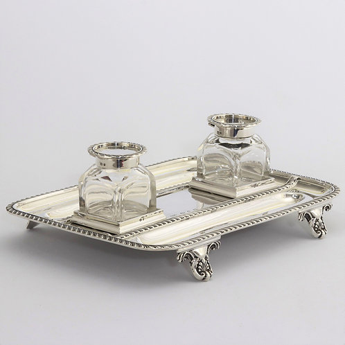 Antique Silver Inkstand with Inkbottles by Elkington & Co. 1898