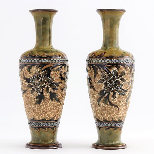 Pair of Doulton Lambeth Art Nouveau Vases by Eliza Simmance