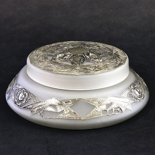 French Art Deco Glass Lidded Bowl with Pewter Overlay