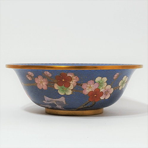Vintage Chinese Cloisonne Enameled Bowl side view