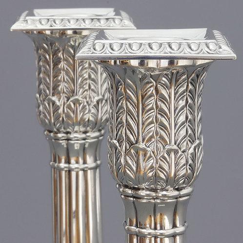 Victorian Silver Candlesticks Cast Capital detail