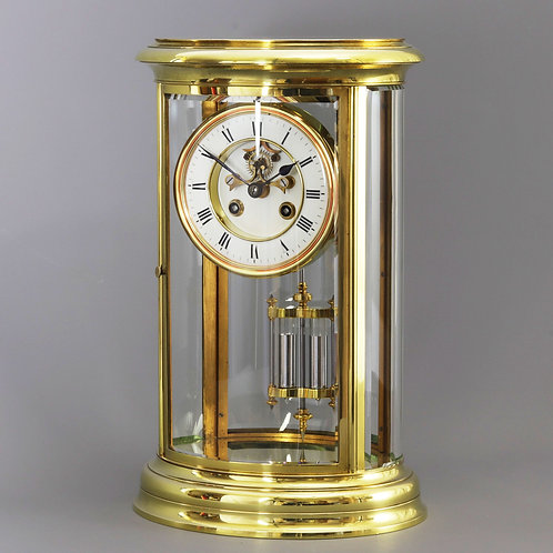 Tall Oval Four Glass Brass Mantle Clock with Exposed Escapement c.1885