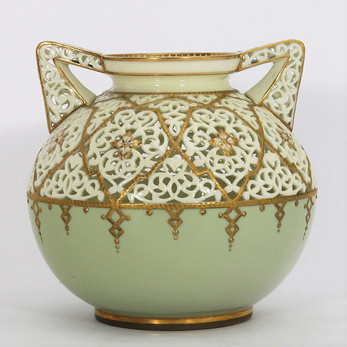 Grainger & Co (Worcester) Reticulated Vase by Alfred Barry c1895