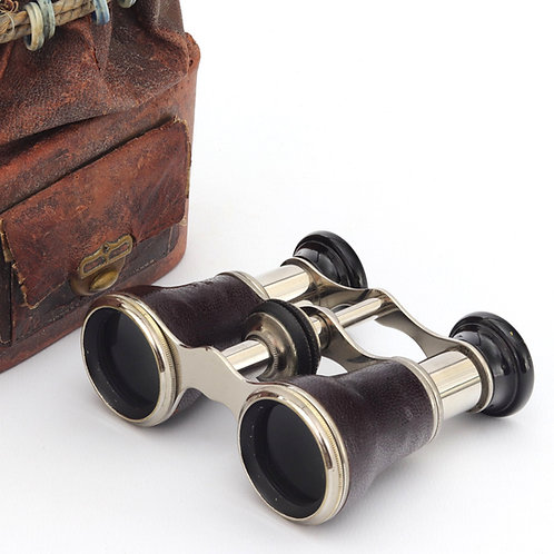 Pair of Leather and Chrome Opera Glasses with Bag c1920s