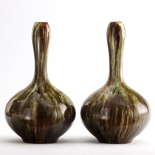 Pair of Linthorpe Pottery Drip Glaze Bottle Vases c1885