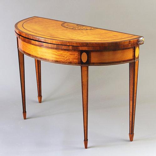 George III Fine Satinwood Inlaid Demi-Lune Card Table