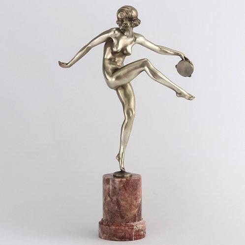 Pierre Laurel Art Deco Silvered Bronze Figure of a Tambourine Dancer c1925