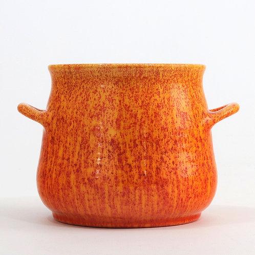 Royal Lancastrian Orange-Vermilion Twin Handle Pot c1935