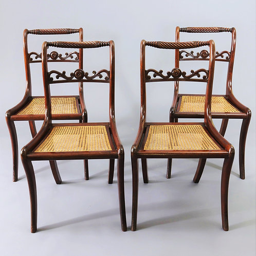 Set of Four Regency Mahogany Rope Back Dining Chairs
