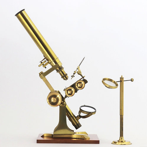 Antique Cased Brass Bar-Limb Microscope with Magnifier c1850