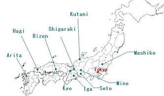 Ceramics regions of Japan
