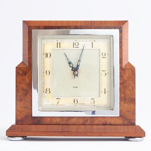 Smiths Art Deco Walnut Cased Mantle Clock c1935