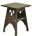Pierced oak Arts and Crafts side table.j