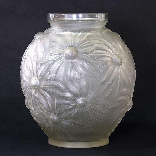 Etling Art Deco Frosted Glass Dasies Vase