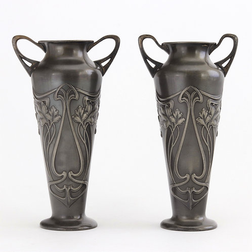 WMF Art Nouveau Silver Plated Twin Handled Vases