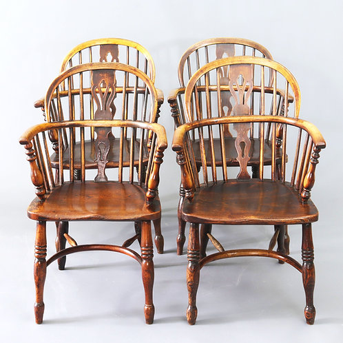 Set of Four Ash and Elm Low Back Windsor Chairs c1840